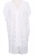 R-C7.1 Beach Poncho with Flowers and Tassels White