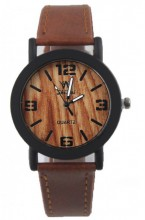 E-E19.1 Wood Look Watch with PU Strap Brown 30MM