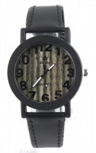 E-A17.4 Wood Look Watch with PU Strap Black 30MM