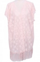 Y-B2.5 Beach Poncho with Flowers and Tassels Pink