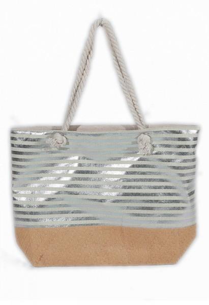 a2304ff1217 Y-D2.3 BAG217-005 Beach Bag with Wicker and Metallic Stripes 54x40cm White -Silver
