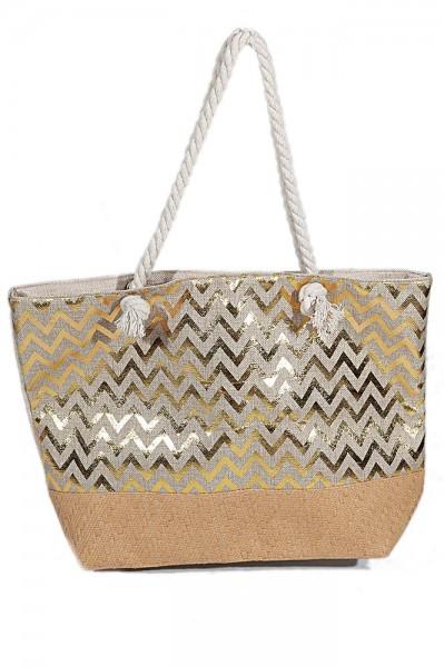 4ae900a9ef2 Y-A2.2 BAG217-005 Beach Bag with Wicker and Metallic Zig-Zag 54x40cm White -Gold