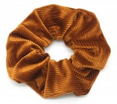 S-F5.4 H350-022H Rib Fabric Shiny Scrunchie Brown