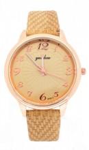 WA023-001 Quartz Watch with PU Strap Rose Gold- Light Brown
