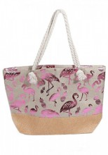 T-F8.2 BAG217-006 Beach Bag Wicker Flamingo White-Pink 55x40x15cm