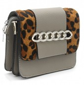T-H7.2 BAG122-019 PU Bag with Chain and Leopard Print Grey 20x15x6 cm