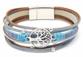 B-B18.3 B104-003 Leather Bracelet with Tree of Life Blue
