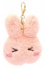 S-G8.3 KY2035-011C Fluffy Keychain Bunny 12x10x3cm Pink