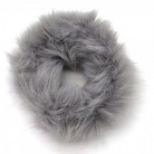 S-D3.1  H414-003D Scrunchie Fluffy Animal Print Grey