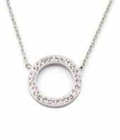 E-B5.3 N410-003 S. Steel Necklace Crystal Circle 15mm Silver