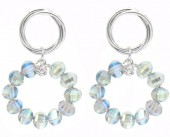 C-F16.3 E2019-004S Earrings with Faceted Glass Beads 35mm Silver