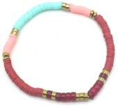 E-E19.2 B1941-001C Surf Bracelet with Semi Precious Stones Blue-Pink-Red
