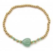 B-E19.5 B2142-004C S. Steel Elastic Bracelet Green Adventurine