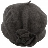 Z-C1.6  Woolen Hat with Flower Grey