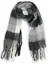Y-B5.4 SCARF408-003A Soft Checkered Scarf with Fringes 180x47cm Black-Grey-White