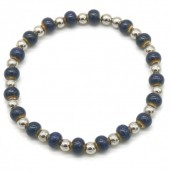 A-G7.3 B2146-014S-A S. Steel with Ceramic Beads Bracelet Blue-Silver