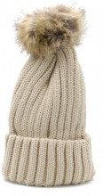 R-I4.1 HAT113-001 Beanie with Fake Fur Pompon Brown