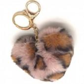 B-E2.3  KY414-001G Fluffy Keychain 10 Heart Leopard Pink