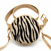 Z-A2.6 BAG212-001 Combination Bum-Shoulder Bag incl Belt 14x14x6cm Brown-Zebra