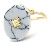 G-E2.5  R532-008G Adjustable Ring Marble with Northern Star Gold