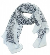 S205-002 Scarf with Animal Print and Glitters 70x180cm Light Blue