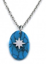 C-C20.1 N1939-016 Stainless Steel Necklace with 15mm Marble and Star Silver