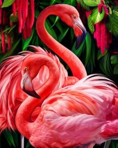 R-H8.2 Diamond Painting Set Y0411 Flamingos Round Stones 50x40cm