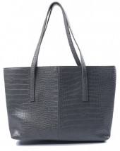 L-E8.1 BAG417-004E PU Shopper Croco 44x30x10cm Grey