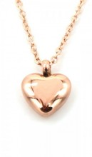 A-C21.1 N410-006RG S. Steel Necklace Heart 10mm Rose Gold