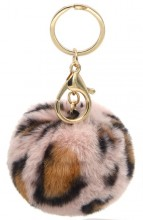 D-D2.2  KY414-002F Fluffy Bag-Keychain 7cm Leopard Pink