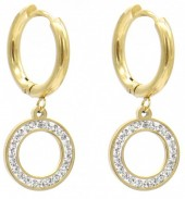 C-D3.2 E1934-004G Stainless Steel 15mm Earrings with 12mm Circle Gold