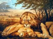 R-H2.2 S236 Diamond Painting Set Lion-Lioness 50x40cm