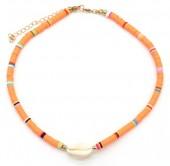D-E3.2 N1925-009 Choker Surf Beads with Shell 37-43cm Orange