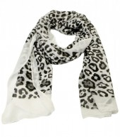 S205-002 Scarf with Animal Print and Glitters 70x180cm White