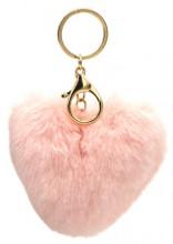 D-C16.1  KY414-003A Fluffy Bag-Keychain 10cm Heart Pink