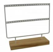 R-I7.1  PK424-004 Wood with Metal Earring Display White 23x22x7cm