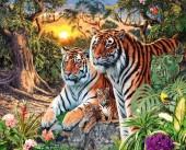 R-H6.2 S199  Diamond Painting Set Tiger Family 50x40cm