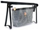 Y-D3.5 BAG200-019 Make Up Bag Shiny Black-Transparant Set