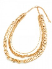 D-D17.3 N001-009 Layered Metal Chain Necklace Gold