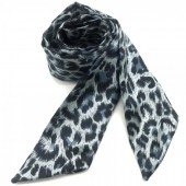 H415-003D Hair Scarf with Leopard Print 100x5cm Grey