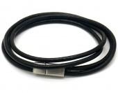 F-D20.1 B1642-003A S. Steel with Leather Wrap Bracelet 43cm Black
