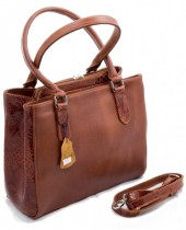 Q-I5.2  Luxury Leather Bag 35x26cm Cognac