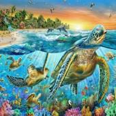 Q-H3.2 X523A Diamond Painting Set Turtles 40x30cm