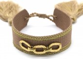 A-E18.3  B2040-005GA Woven Bracelet with S. Steel Chain Brown-Gold
