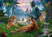 R-K4.1 Diamond Painting Set Y0492 Tigers Round Stones 50x40cm