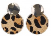 C-D6.1  E006-005 Earrings with Animal Print Silver-Brown 4x2.5 cm