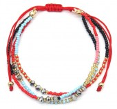 A-A5.3 B2039-004E Layered Bracelet with Beads Red
