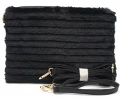 S-K5.3 BAG190-006 Soft Fake Fur Clutch-Bag Black 30x17x4 cm