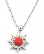 B-E4.2 N2004-003 S. Steel Necklace 12mm Sun with Stone Silver