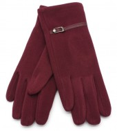 S-D5.4  GLOVE403-004E Soft Gloves with PU Strap and Crystal Bordeaux